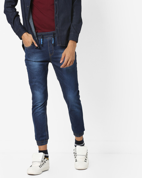 Mid-Rise Jogger Jeans With Drawstring By DEEZENO ( Navyblue )