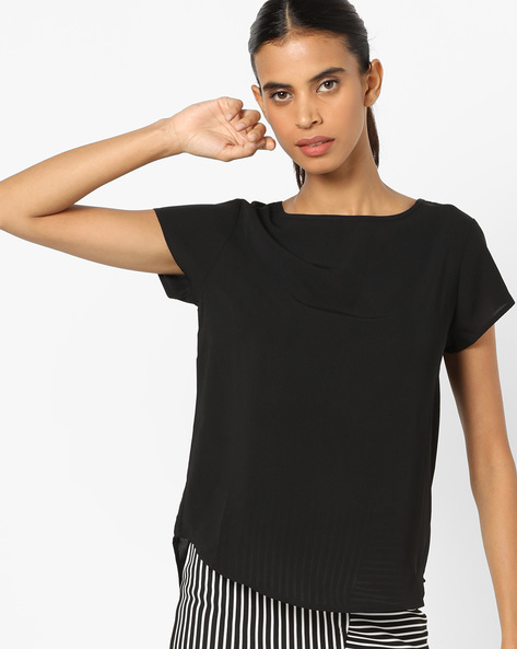 High-Low Top With Curved Hemline By UNITED COLORS OF BENETTON ( Black )