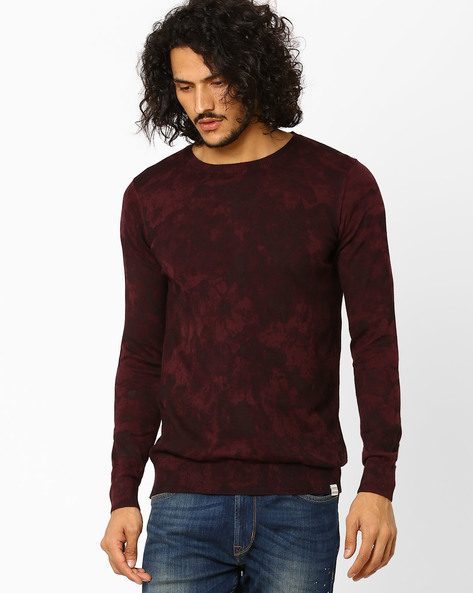 Slim Fit Printed Crew-Neck Pullover By Jack & Jones ( Black )