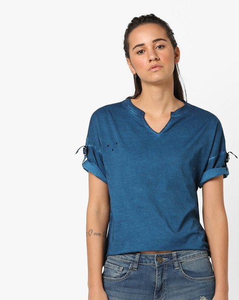 Cotton T-shirt With Roll-Up Sleeve Tabs By AJIO ( Blue )