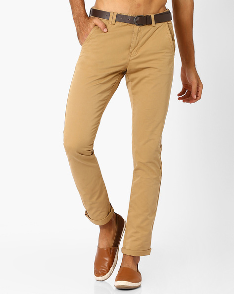 Belted Chino Slim Trousers By NETPLAY ( Khaki )