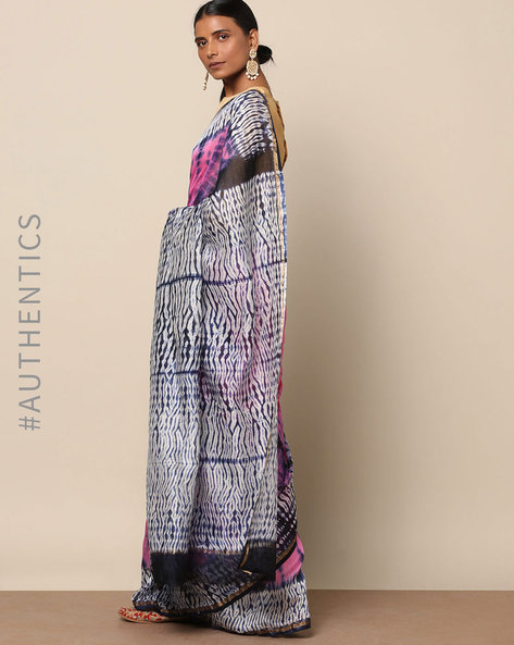 Shibori Tie-Dye Chanderi Saree With Zari By Indie Picks ( Multi ) - 460146844001