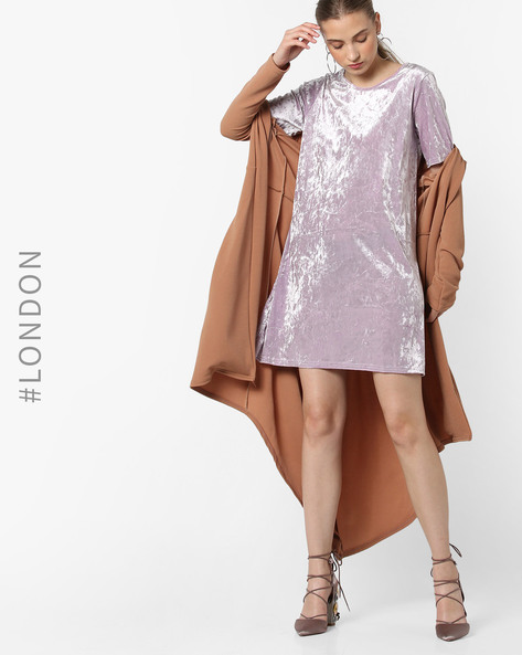 Round-Neck Mini Shift Dress By Glamorous ( Lilac )
