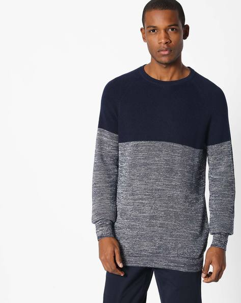 Colourblock Pullover With Raglan Sleeves By Celio ( Indigo )