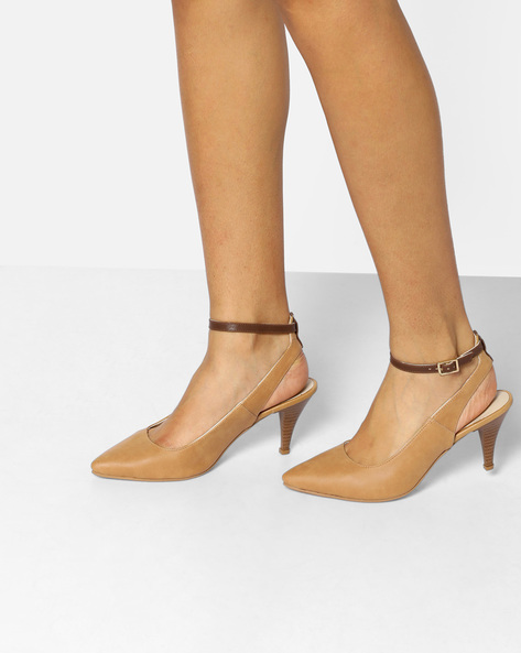 Pointy-Toe Heels With Ankle Strap By AJIO ( Brown )