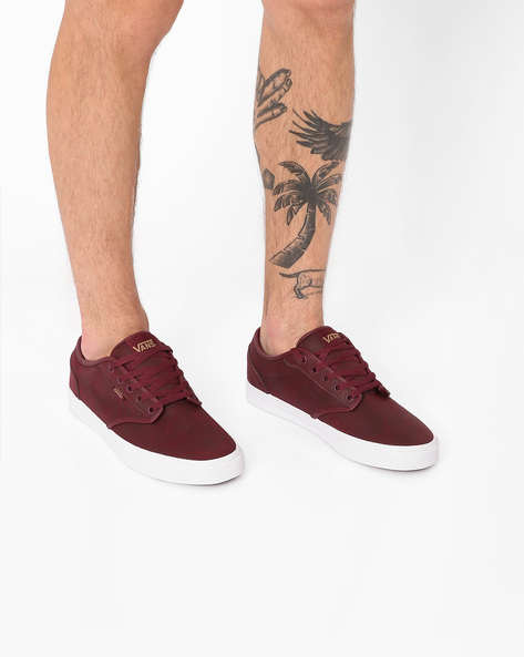 Casual Shoes With Lace-Ups By Vans ( Maroon )