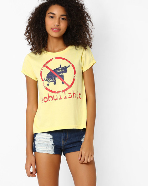 Graphic Print T-shirt With Upturned Hems By AJIO ( Yellow )