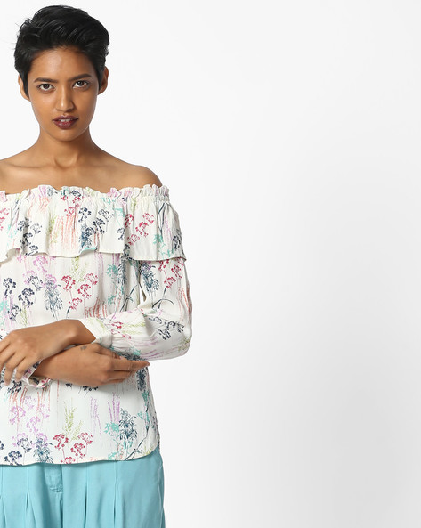 Floral Print Off-Shoulder Top By RI-DRESS ( Multi )