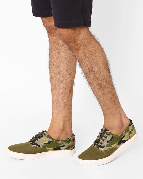 Camouflage Print N9-Treated Canvas Sneakers By AJIO ( Olive )