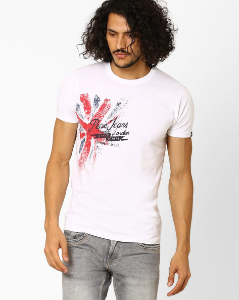 Printed Crew-Neck Slim T-shirt By Pepe Jeans ( White )