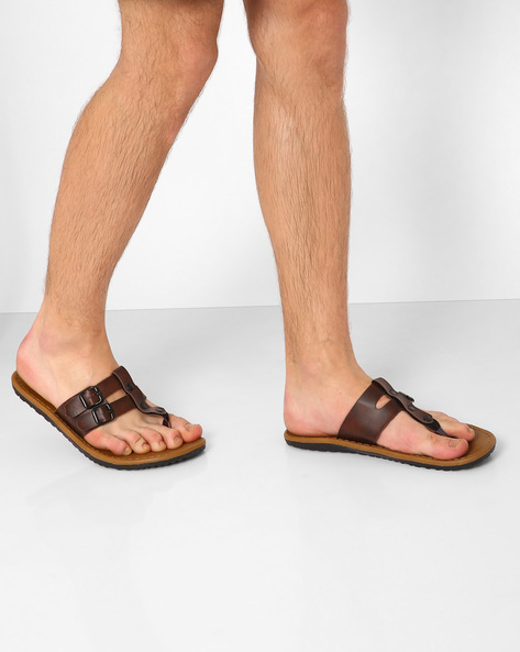 Flip-Flops With Dual Buckle Fastening By Funk ( Darkbrown )
