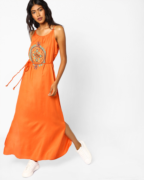Strappy Maxi Dress With Tie-Up By COLOUR ME ( Orange )