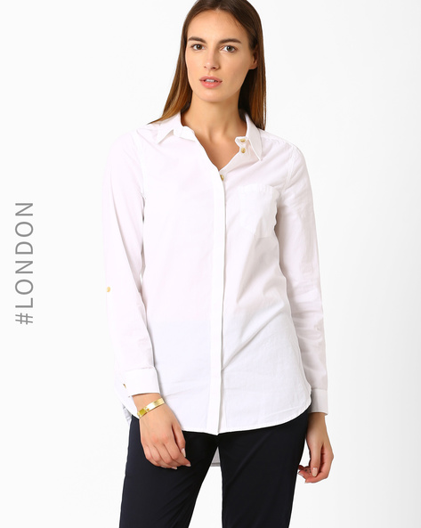 Cotton Shirt By Marks & Spencer ( White )