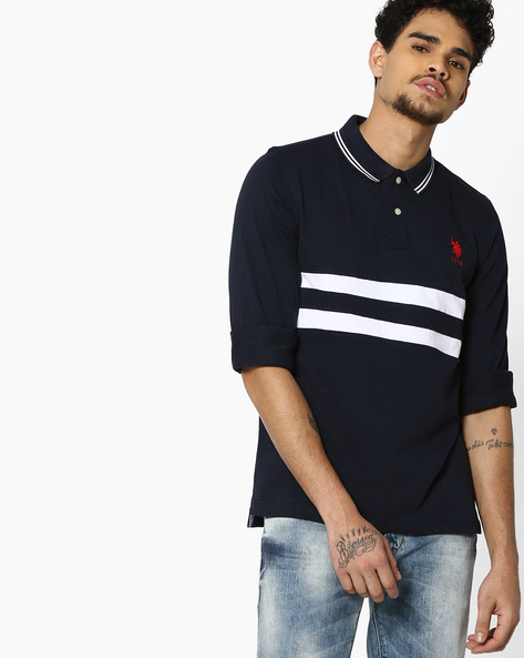 Polo T-shirt With Contrast Stripes By US POLO ( Navy )