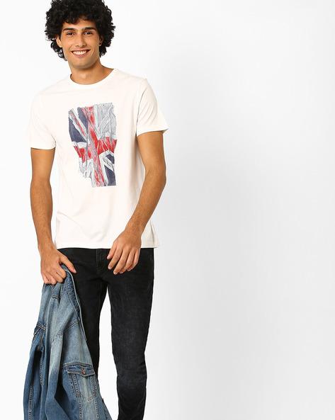 Graphic Print Crew-Neck T-shirt By AJIO ( Offwhite )