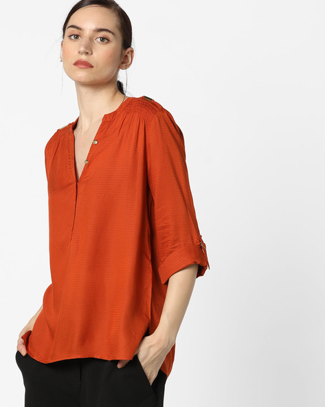 High-Low Top With Button Placket By Only ( Redorange )