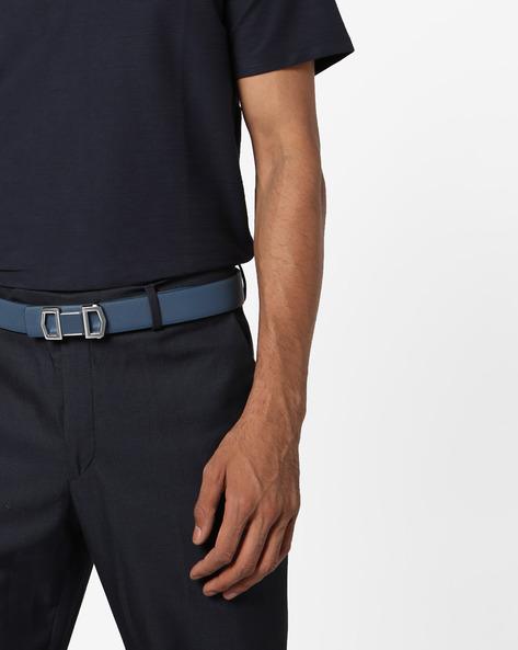 Genuine Leather Textured Belt By AJIO ( Blue )