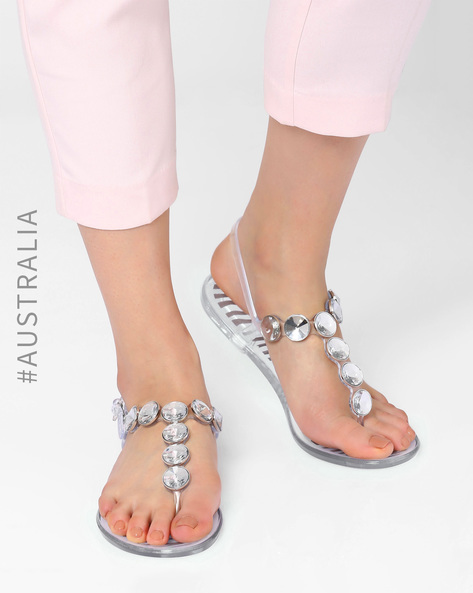 Embellished Jelly Zebra Glamour Flats By Holster ( Clear )