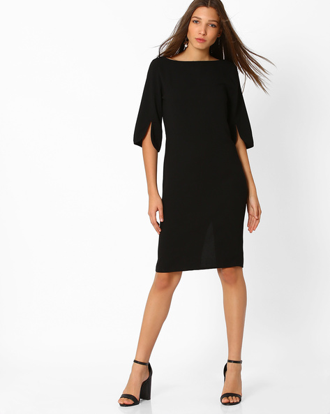 Midi Dress With Slits By Femella ( Black )