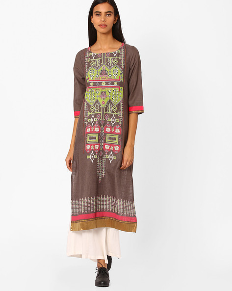 Printed Cotton Straight Kurta By W ( Ltgrey )