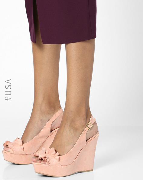 Peep-Toe Wedges With Ruffles By QUPID ( Blush )