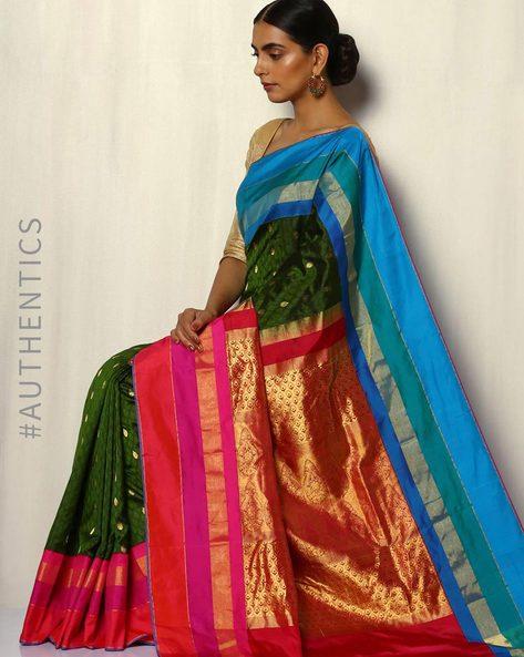 Pure Silk Bangalore Brocade Saree With Kadiyal Border By Pretty Woman ( Green )