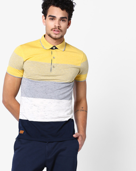 Colour Block Polo T-shirt By Fort Collins ( Gold )