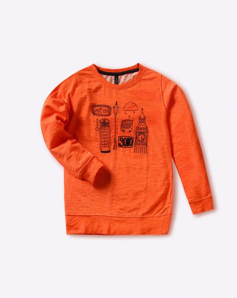 Embroidered Crew-Neck Sweatshirt By RIO GIRLS ( Orange )