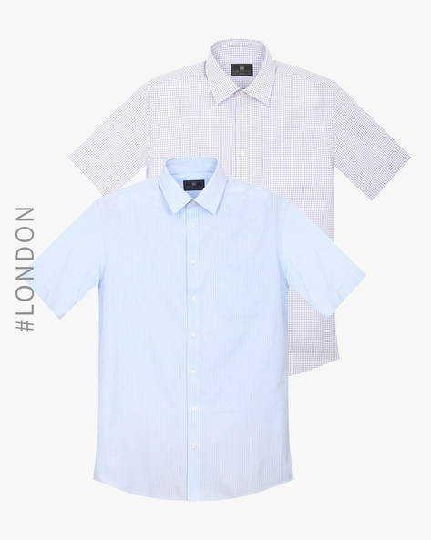 Pack Of 2 Easy-To-Iron Shirts By Marks & Spencer ( Blue )