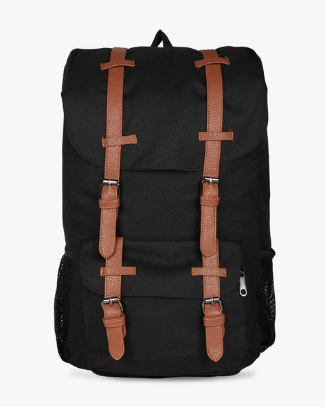 Laptop Backpack With Faux Leather Trims By AJIO ( Black )
