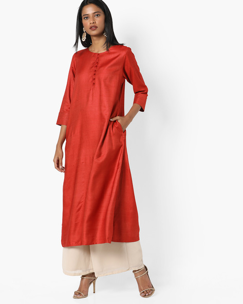 Straight Kurta With Insert Pocket By Project Eve IW Evening ( Orange )