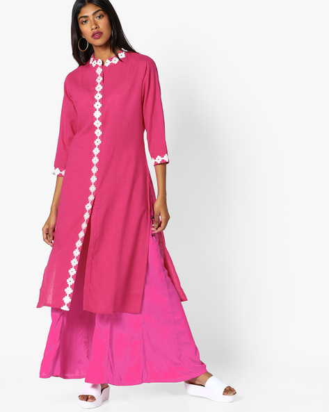 Embroidered Kurta With Front Slit By SOCH ( Pink )
