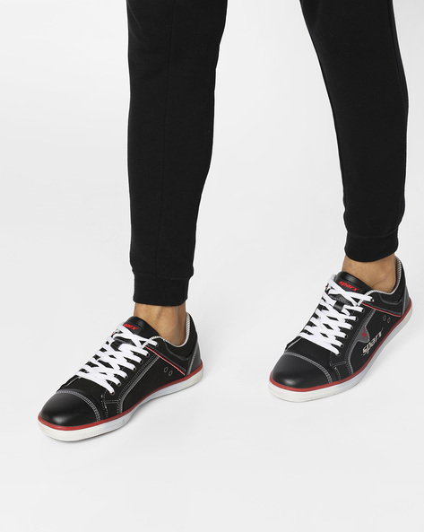 Panelled Lace-Up Sports Shoes By SPARX ( Black )
