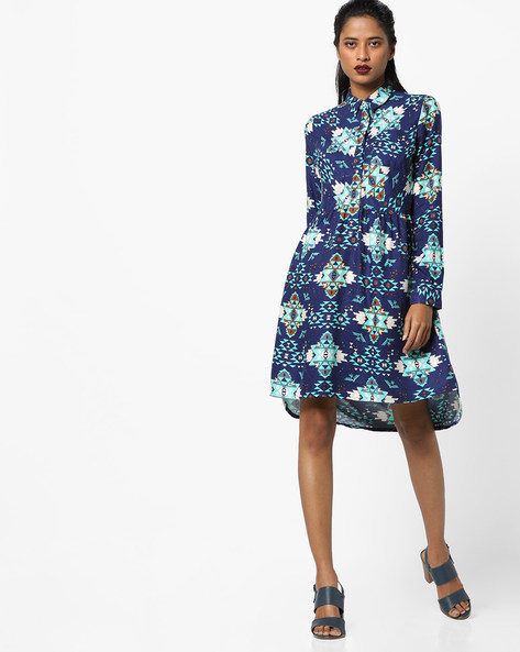Printed Shirt Dress By AJIO ( Navyblue )
