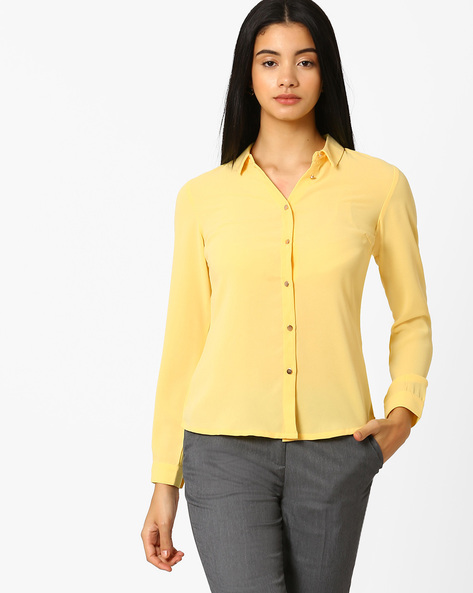 High-Low Shirt With Button Cuffs By AJIO ( Yellow )