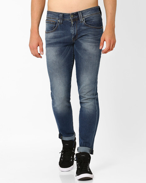 Lightly Washed Tapered Jeans By LEVIS ( Blue )