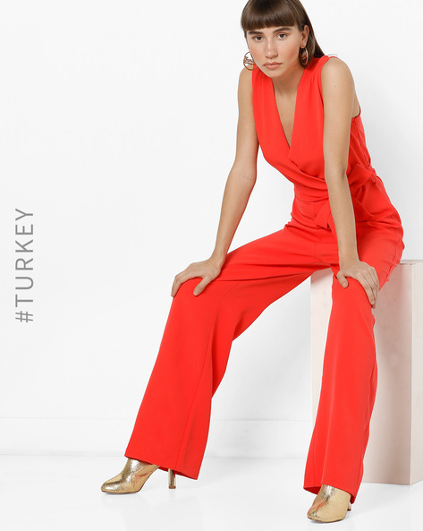 Sleeveless Jumpsuit With Front Tie-Up By TRENDYOL ( Orange )