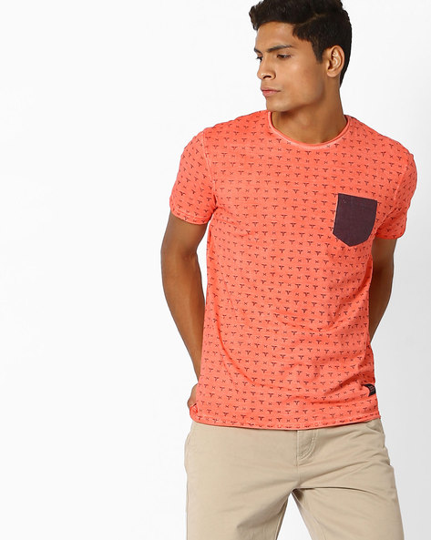 Printed T-shirt With Contrast Patch Pocket By DNMX ( Red )