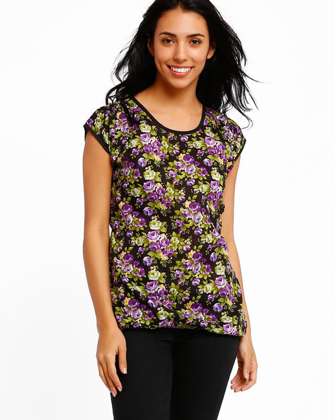 Floral Print Top By Style Quotient By Noi ( Purple )