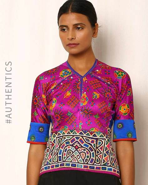 Kutch Embroidered Backless Blouse By Indie Picks ( Multi ) - 460039058001