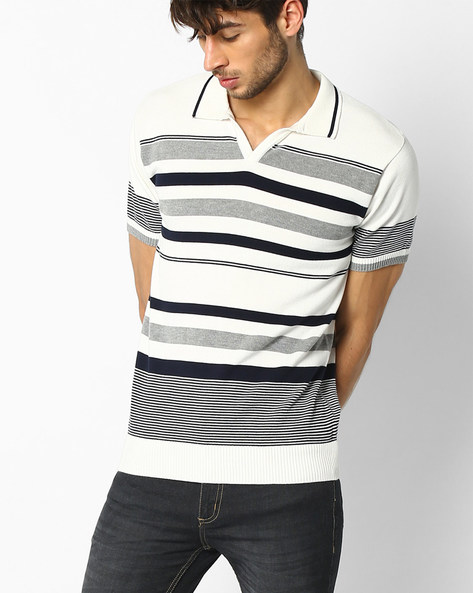 Knitted Regular Fit Polo T-shirt By NETPLAY ( Offwhite )