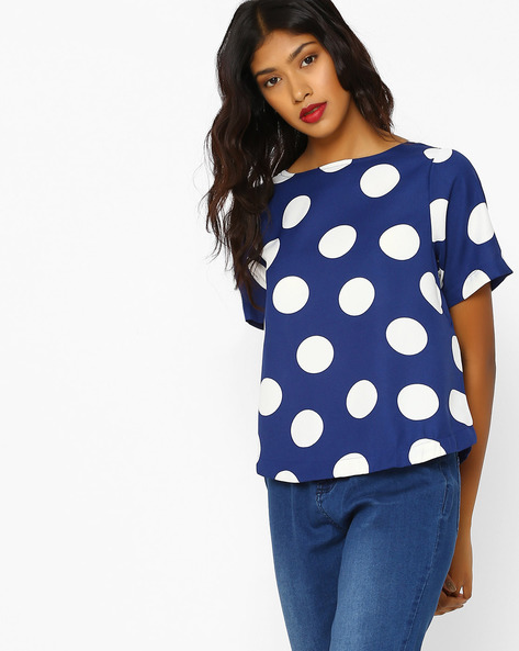 Polka-Dot Print Boxy Top By RIO ( Navy )