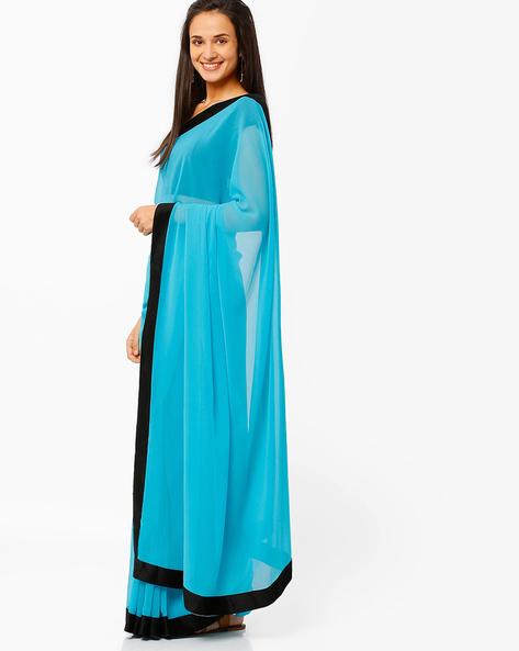 Georgette Saree By Mrignain ( Blue )