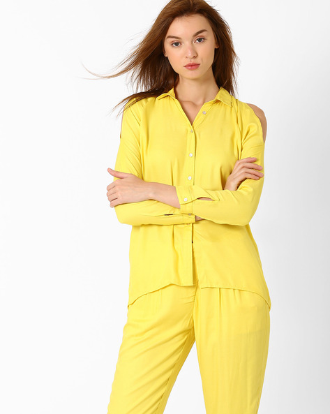 Shirt With Cold-Shoulder Sleeves By AJIO ( Yellow )