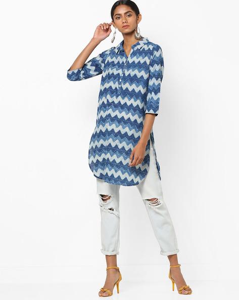 Geometric Print Kurta With Shirt Collar By Melange By Lifestyle ( Indigo )
