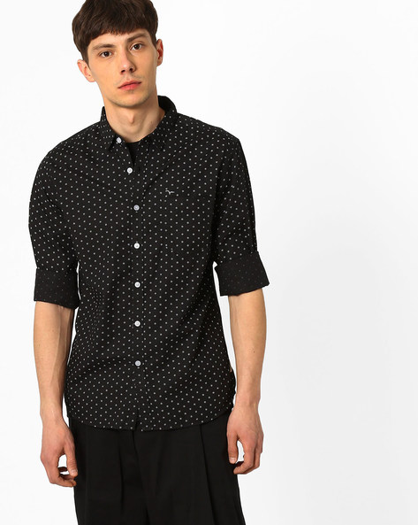 Printed Cotton Shirt By FLYING MACHINE ( Black )