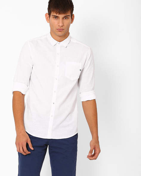 Slim Fit Shirt With Patch Pocket By The Indian Garage Co ( White )