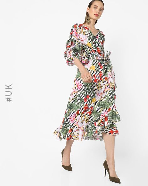 Floral Midi Dress With Ruffles By OEUVRE ( Multi )