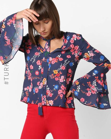 Floral Print Top With Tiered Bell Sleeves By TRENDYOL ( Multi )