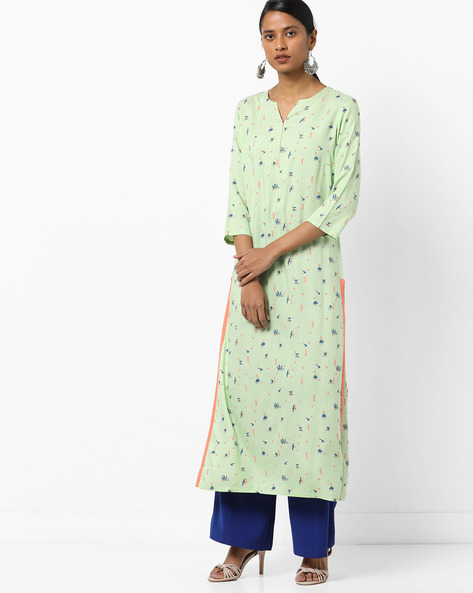 All-Over Print Straight Kurta By AJIO ( Green )